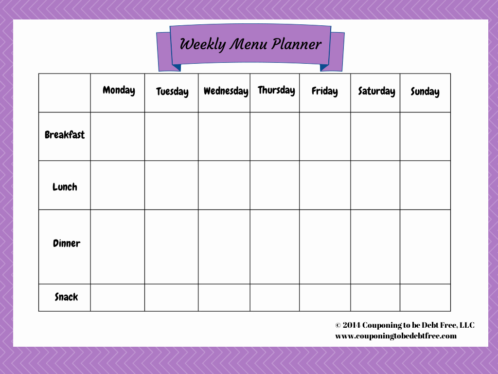 7 Day Menu Planner Template Luxury Weekly Menu Planner Printable