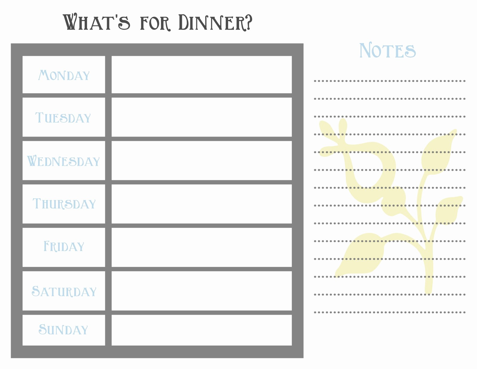 "7 Day Menu Planner Template New Search Results for ""7 Day Meal Planning Template"