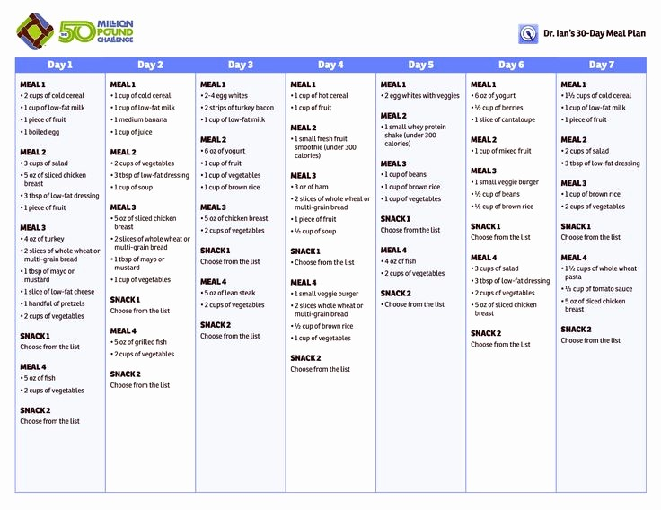7 Day Menu Planner Template Unique 30 Day Healthy Meal Plan 30 Day Meal Plan