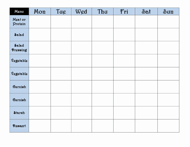 7 Day Menu Planner Template Unique 7 Day Week Schedule Template Search Results