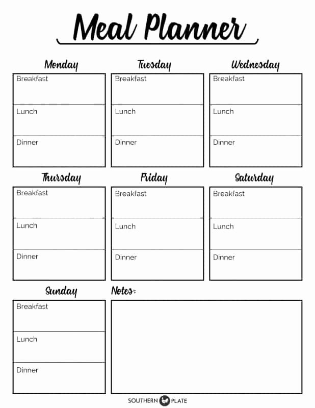 7 Day Menu Planner Template Unique Free Printable Menu Planner Sheet southern Plate