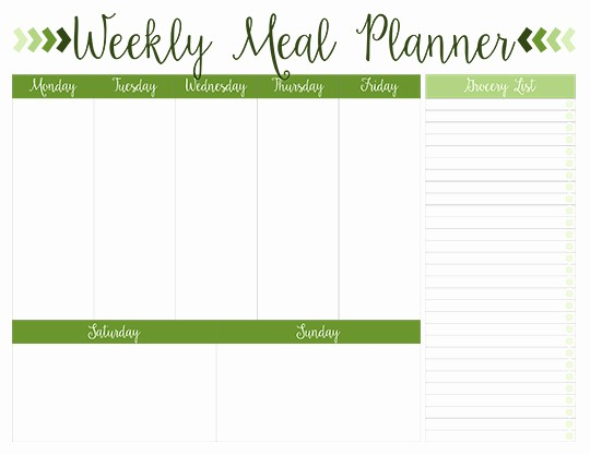 7 Day Menu Planner Template Unique Printable Weekly Meal Planners Free