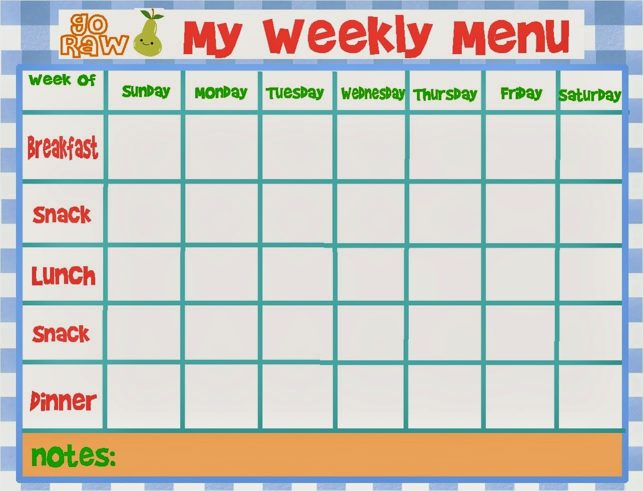7 Day Menu Planner Template Unique Weekly Menu Template