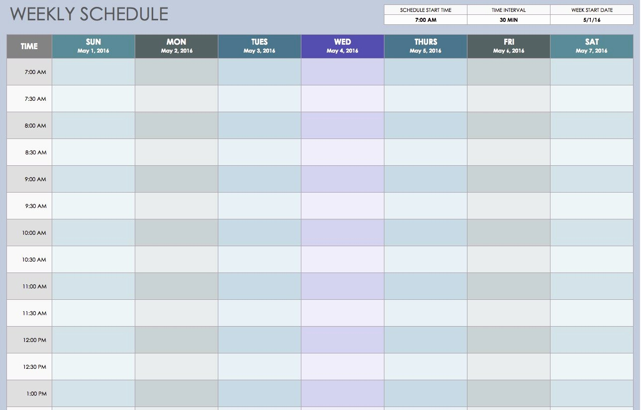 7 Day Schedule Template Excel Elegant Free Weekly Schedule Templates for Excel Smartsheet