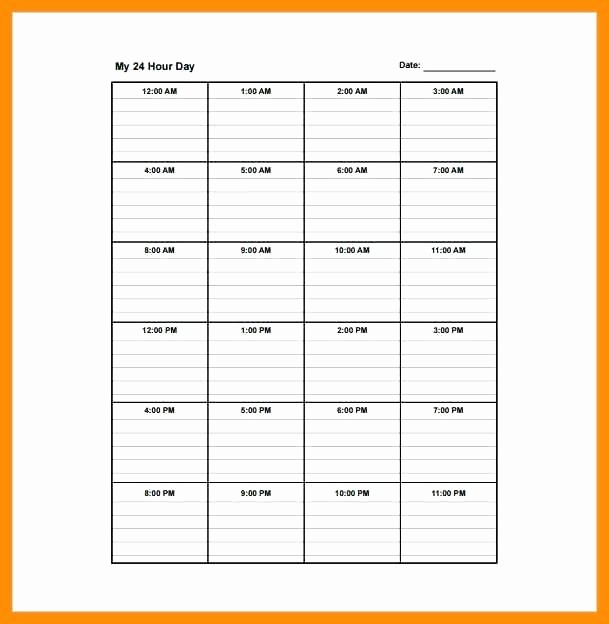 7 Day Schedule Template Excel Elegant Hour Daily Schedule Template 24 7 Day Work Excel