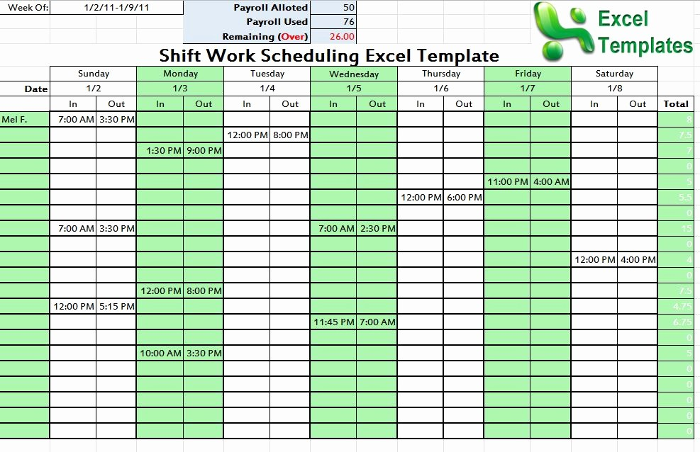 7 Day Schedule Template Excel Elegant Shift Schedule Template Word Excel