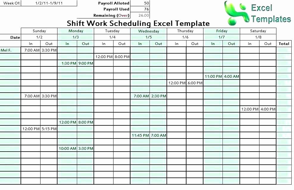 7 Day Schedule Template Excel Elegant Weekly Employee Shift Schedule Template Excel Rotating