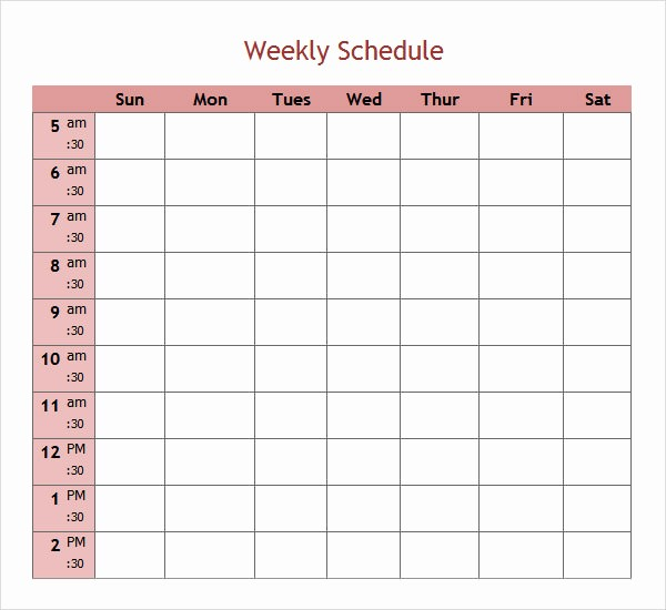7 Day Schedule Template Excel Fresh 7 Weekend Scheduled Samples