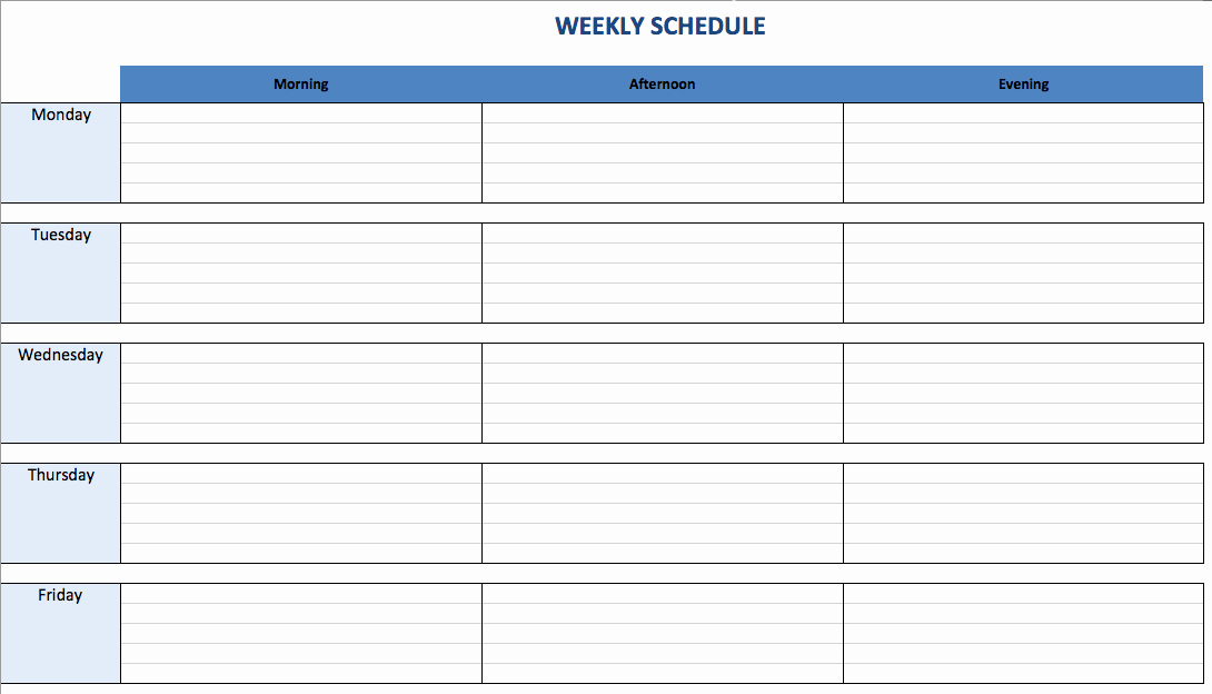 7 Day Schedule Template Excel Fresh Free Excel Schedule Templates for Schedule Makers