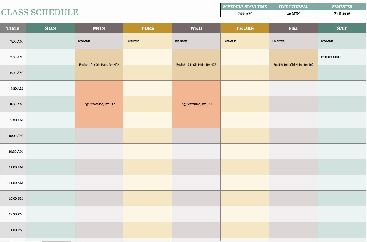 7 Day Schedule Template Excel Fresh Free Weekly Schedule Templates for Excel Smartsheet