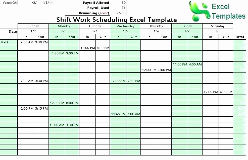 7 Day Schedule Template Excel Inspirational Template 24 Hour Work Schedule Template Download Employee