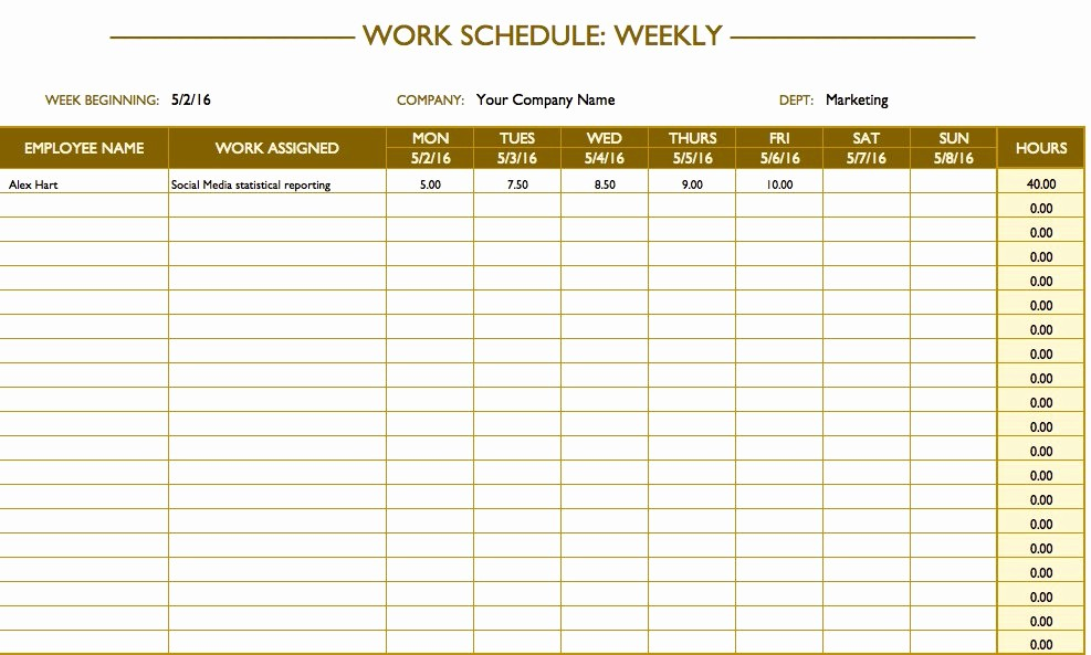 7 Day Schedule Template Excel Lovely Free Work Schedule Templates for Word and Excel