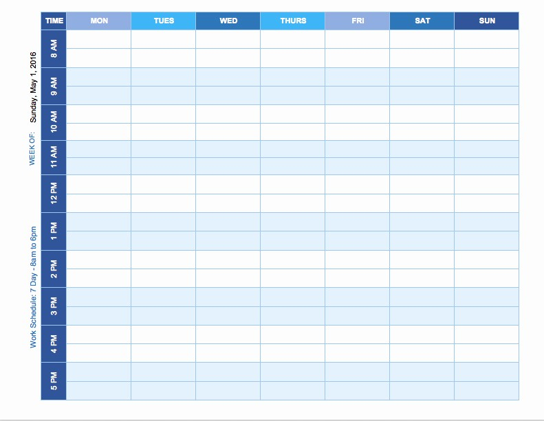 free weekly schedule templates excel