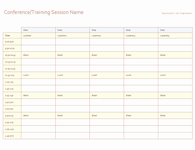 7 Day Schedule Template Excel Unique Five Day event Schedule