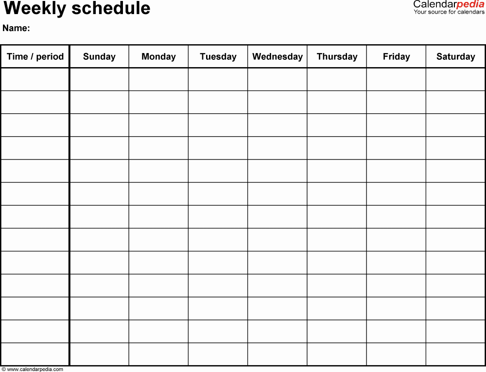7 Day Week Calendar Template Beautiful Free Weekly Schedule Templates for Word 18 Templates