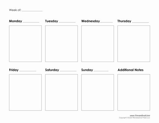 7 Day Week Calendar Template Beautiful Printable Weekly Calendar Template Free Blank Pdf
