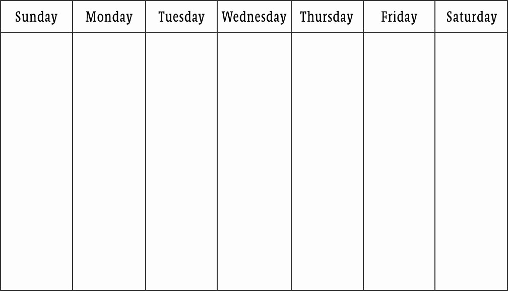 7 Day Week Calendar Template Beautiful Weekly Calendar Print Out