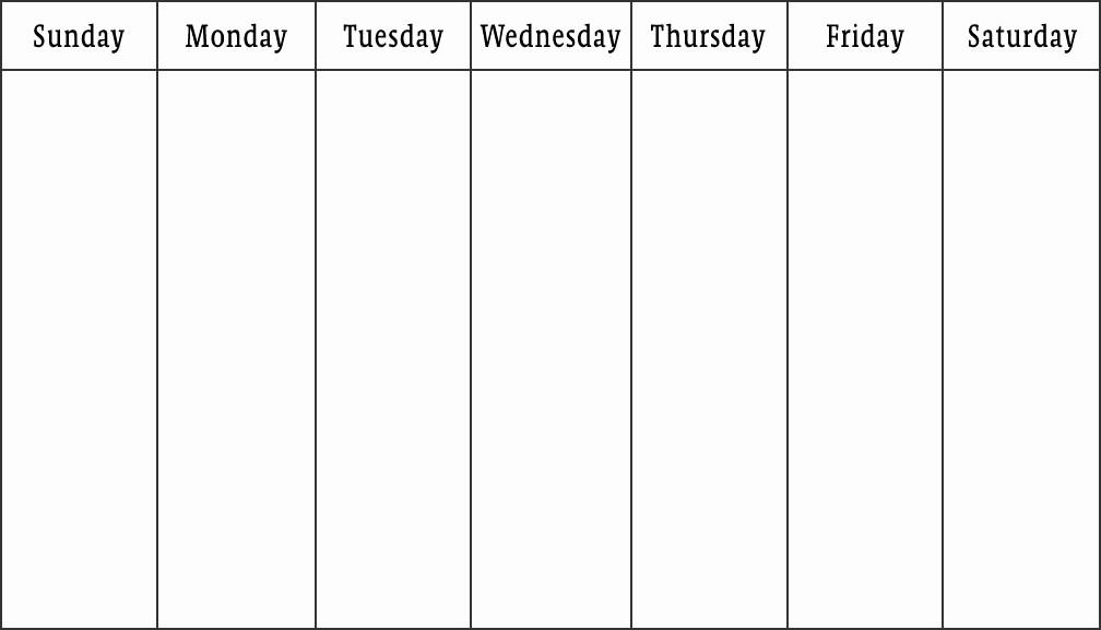 7 Day Week Calendar Template Beautiful Weekly Calendar Print Out
