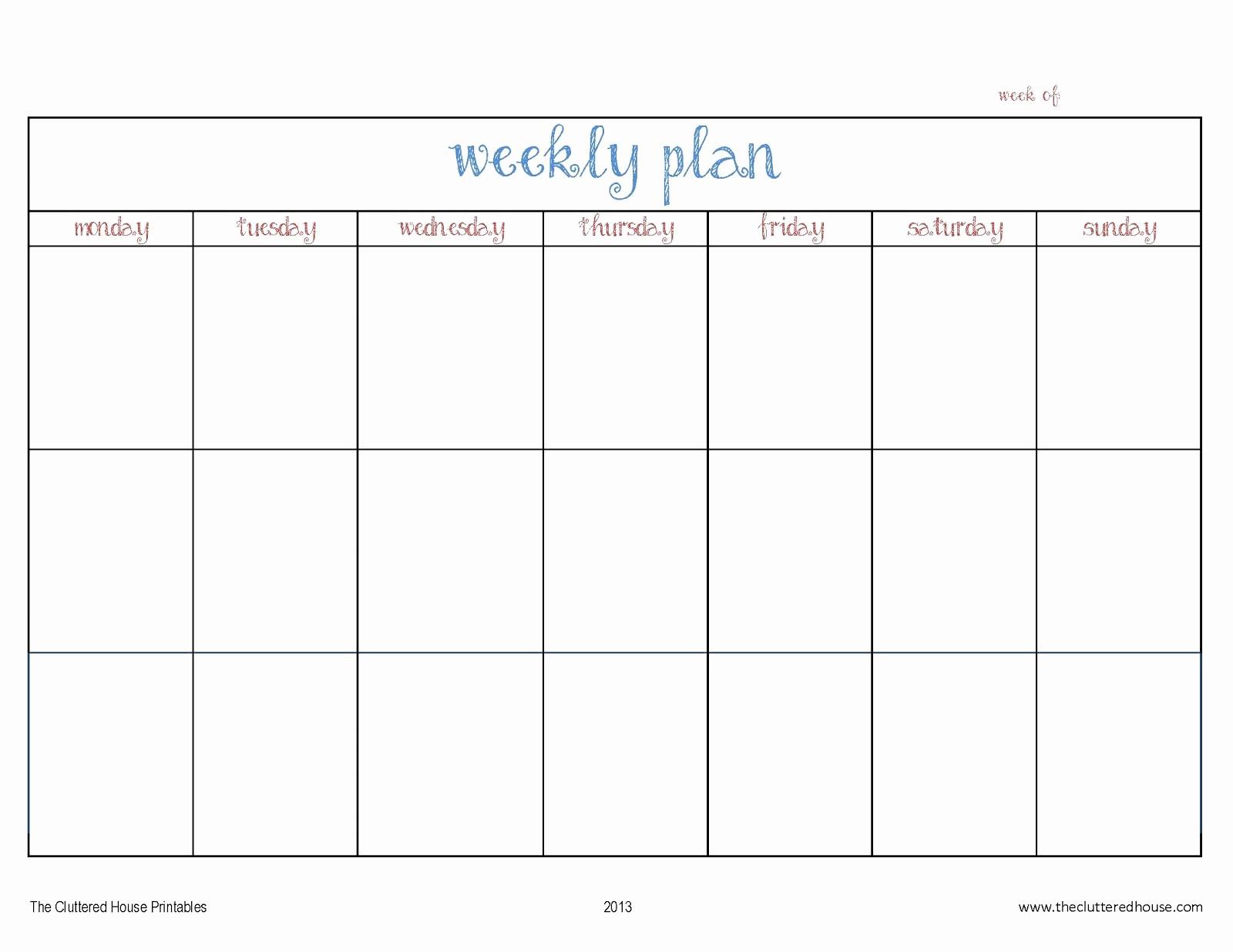7 Day Week Calendar Template Elegant New Free Printable Weekly Calendars