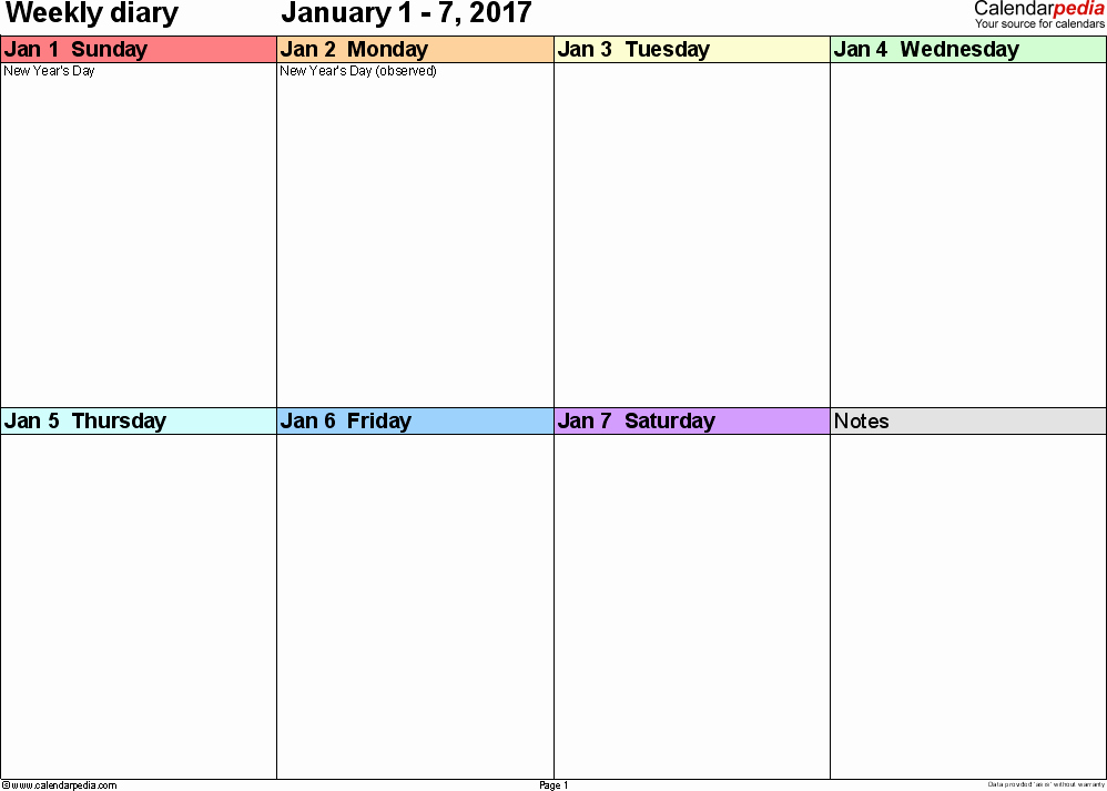 7 Day Week Calendar Template Fresh Weekly Calendar 2017 Template for Pdf Version 7