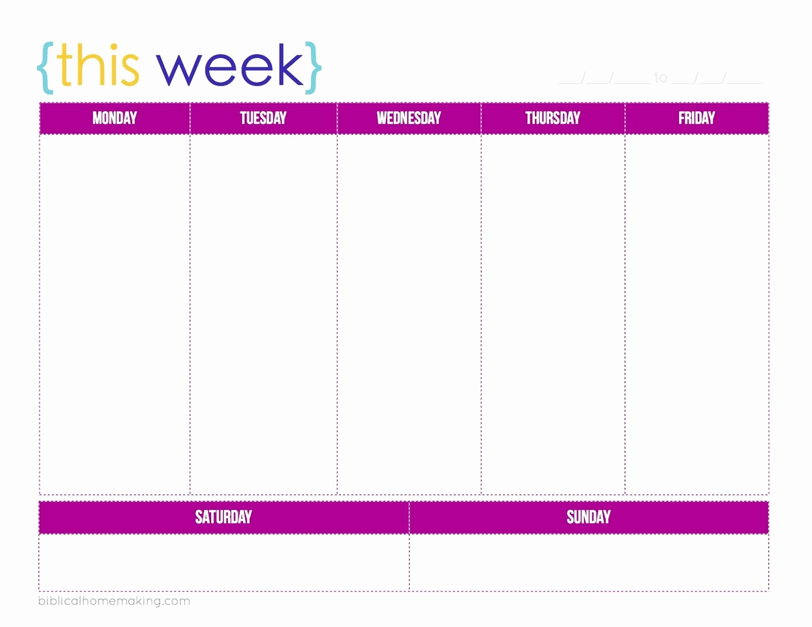 7 Day Week Calendar Template Lovely 7 Day Weekly Planner Template Printable