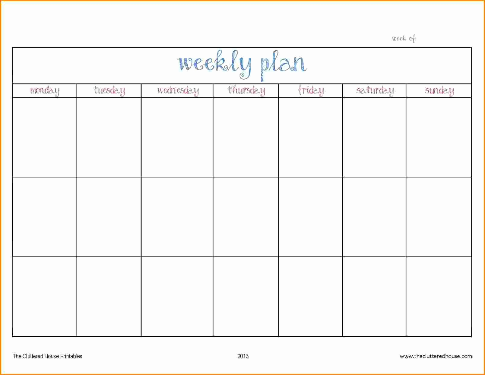 7 Day Week Calendar Template Lovely 7 Work Week Calendar Template