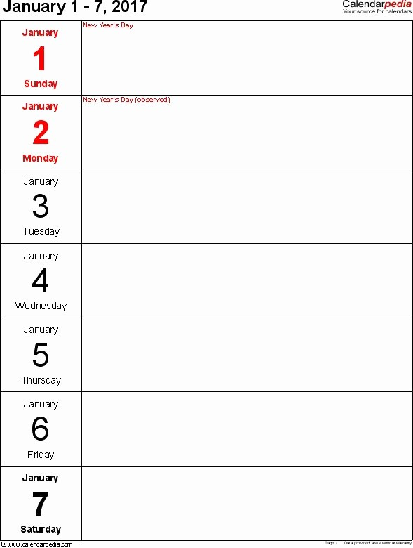 7 Day Week Calendar Template Luxury 17 Best Ideas About Weekly Calendar Template On Pinterest