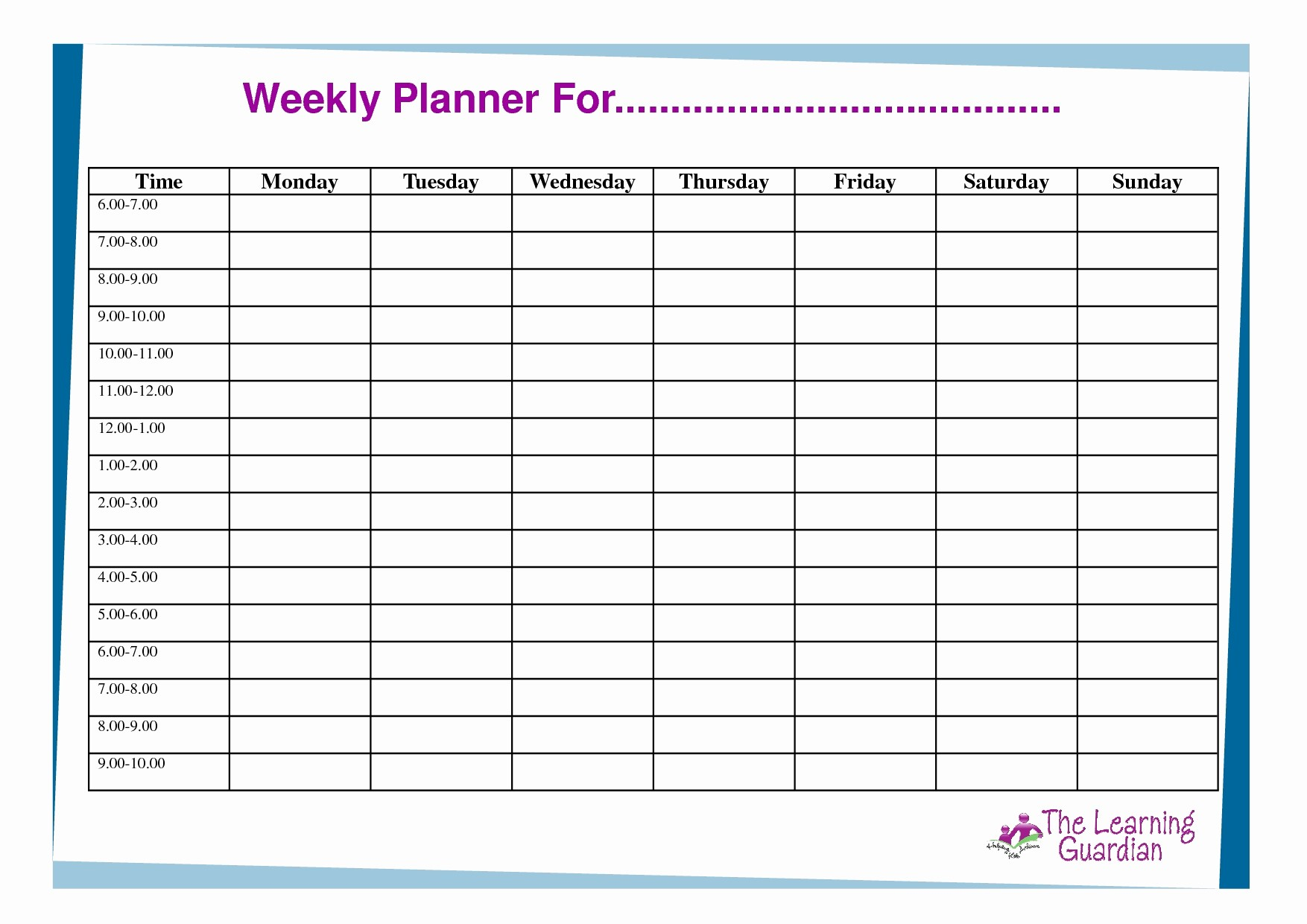 7 Day Week Calendar Template Luxury 7 Day Weekly Planner Template Printable – Template