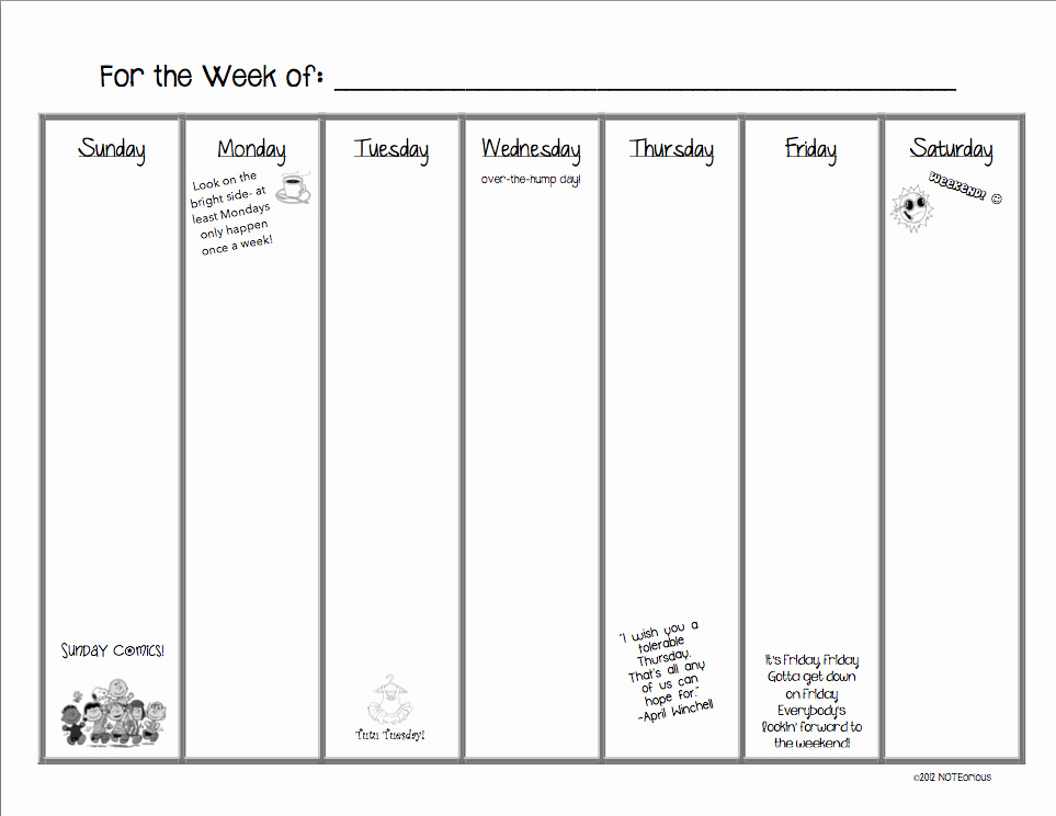 7 Day Weekly Planner Template Awesome 7 Best Of 7 Day Calendar Printable 7 Day Calendar