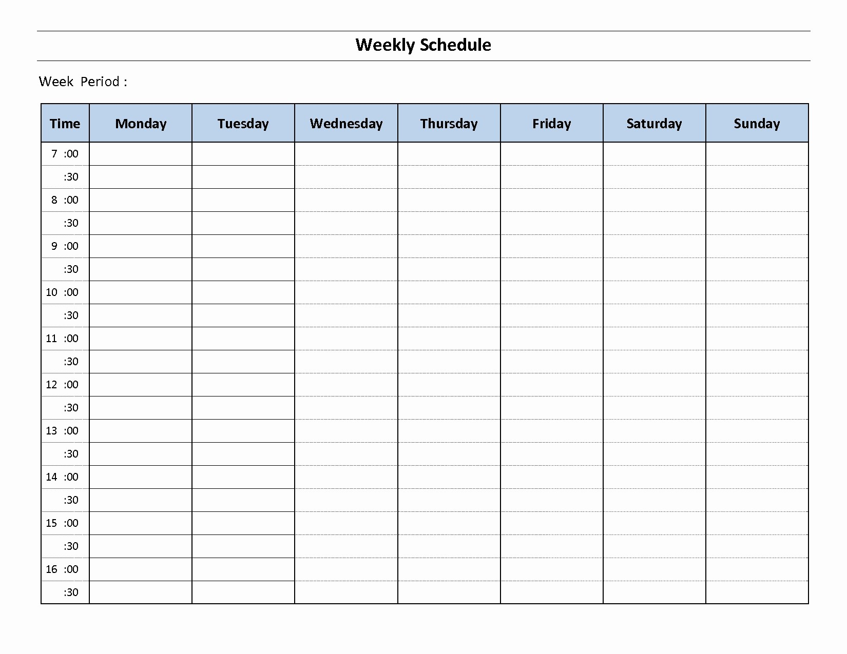 7 Day Weekly Planner Template Best Of 7 Day Weekly Planner Template Printable