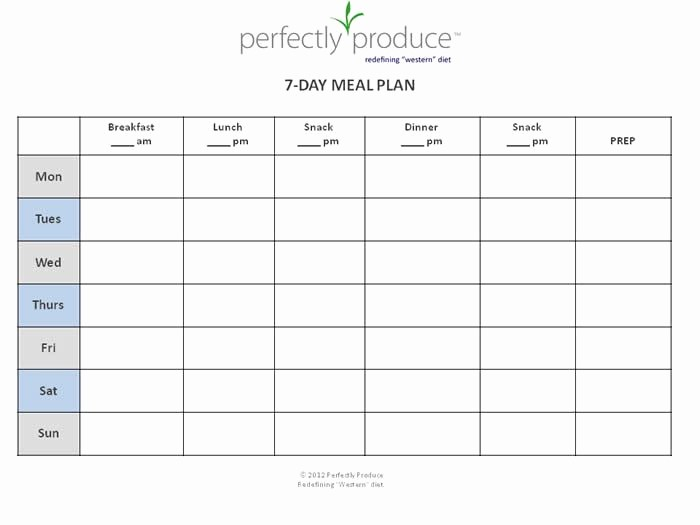 7 Day Weekly Planner Template Fresh 7 Day Meal Planner Template
