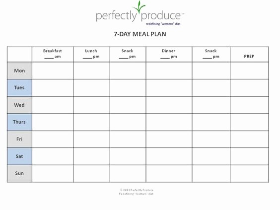 7 Day Weekly Planner Template New 7 Day Meal Planner Template