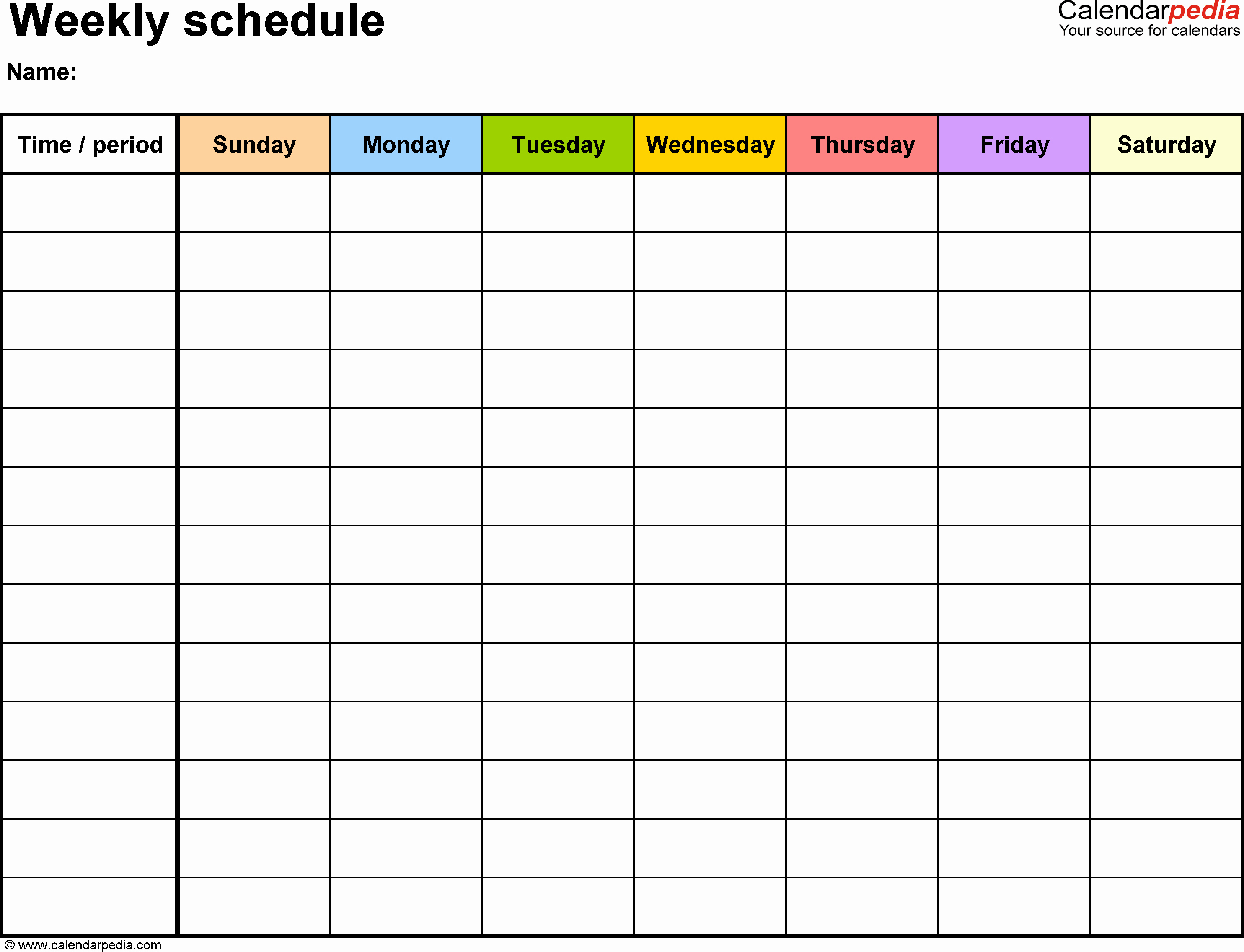 7 Day Weekly Planner Template New Weekly Schedule Template for Word Version 13 Landscape 1