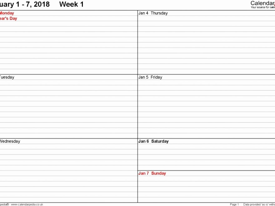7 Day Weekly Planner Template Unique 7 Day Weekly Planner Template Tierianhenry