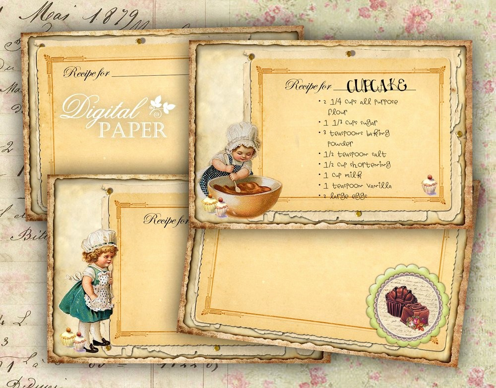 8.5 X 11 Recipe Template Awesome Recipe Cards Vintage Set Of 4 Digital Image by bydigitalpaper