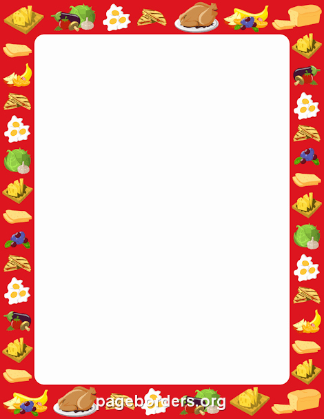 8.5 X 11 Recipe Template Beautiful Food Border Clip Art Page Border and Vector Graphics