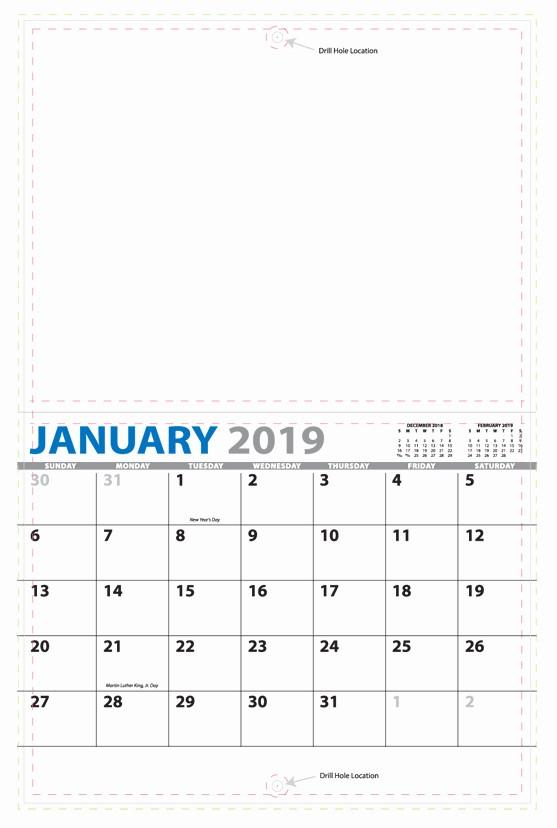 8.5 X 11 Recipe Template Elegant 2019 13 Month Custom Wall Calendar Stapled