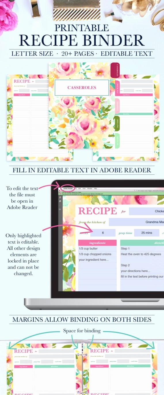 8.5 X 11 Recipe Template Elegant Family Recipe Binder Kit Personalized Recipe Book Binder