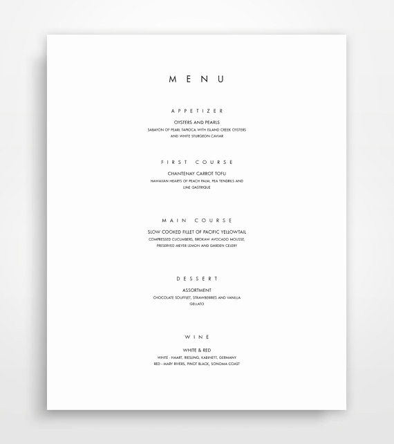 8.5 X 11 Recipe Template Elegant Menu Template Printable Menu Modern Menu Minimalist Menu