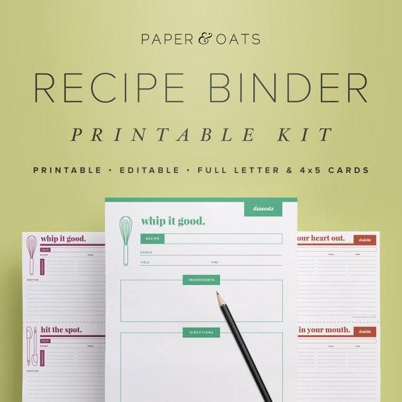 8.5 X 11 Recipe Template Fresh Recipe Binder Printable Kit Editable Diy Recipe by