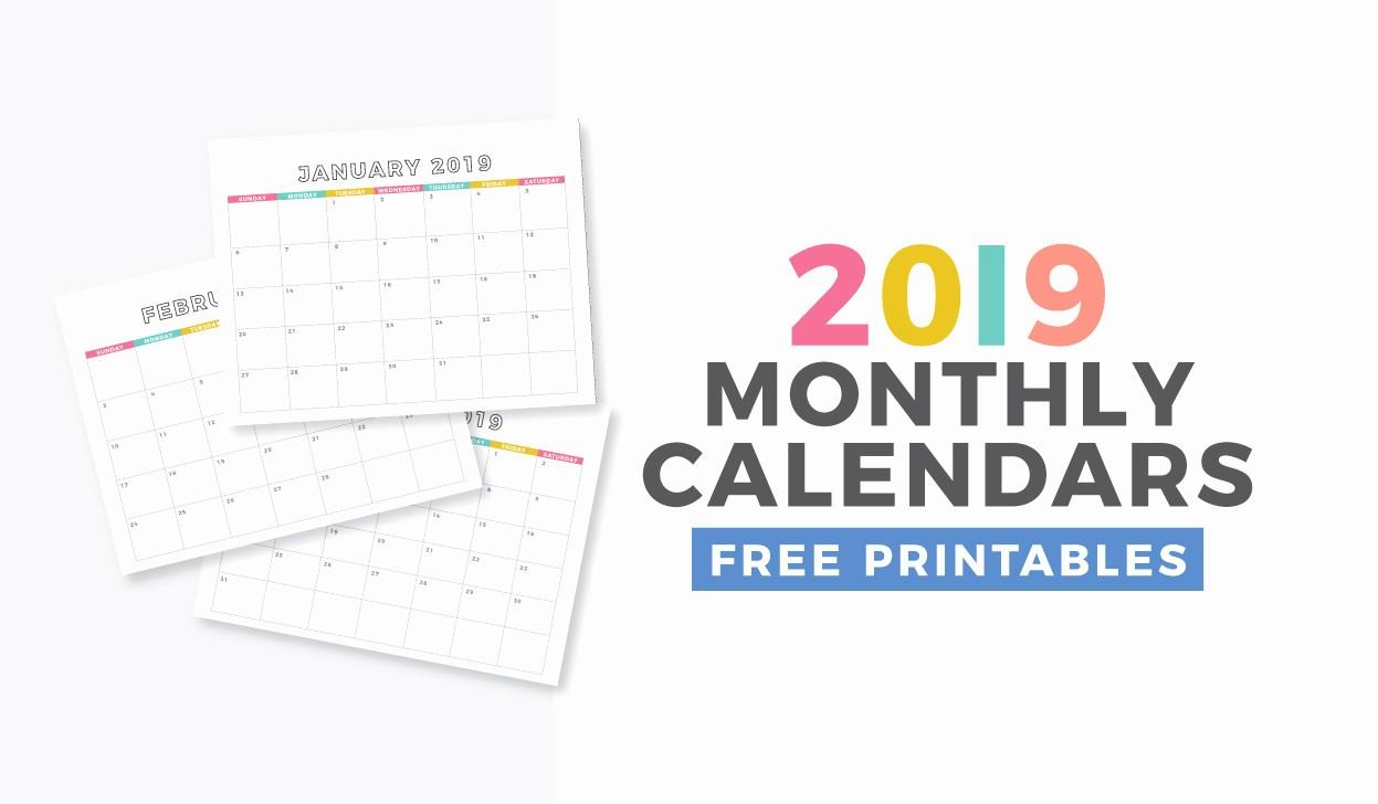 8.5 X 11 Recipe Template Inspirational Free 2019 Monthly Calendar Printable Design Eat Repeat