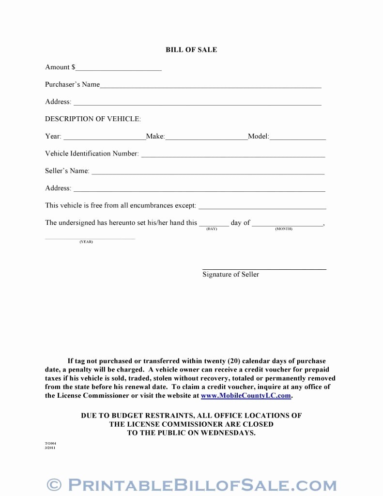 A Car Bill Of Sale Best Of Free Mobile County Alabama Motor Vehicle Bill Of Sale form