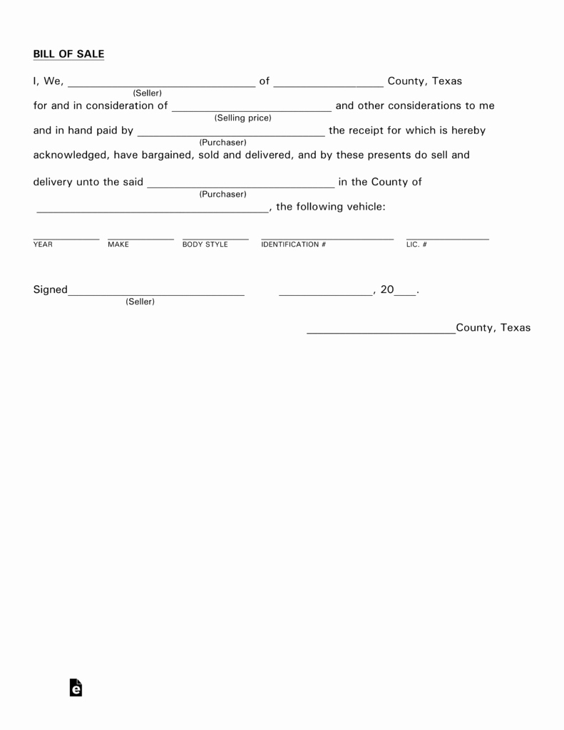 A Car Bill Of Sale Lovely Free Texas Motor Vehicle Bill Of Sale form Pdf
