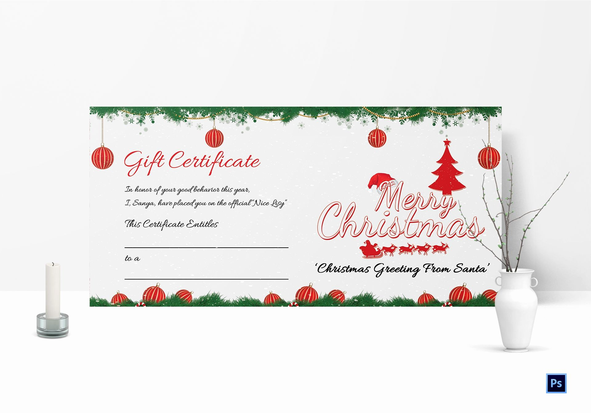 A Gift for You Template Beautiful Printable Merry Christmas Gift Certificate Template In
