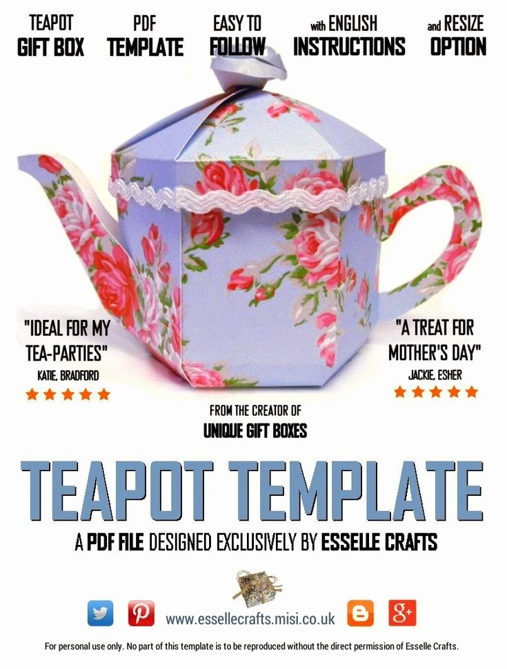 A Gift for You Template Luxury Teapot Treats Gift Box Pdf Template