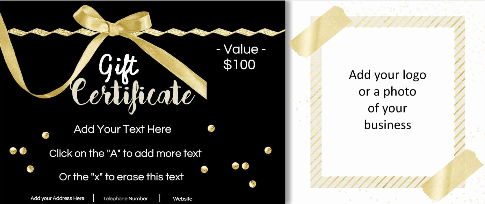 A Gift for You Template Unique Gift Certificate Template with Logo