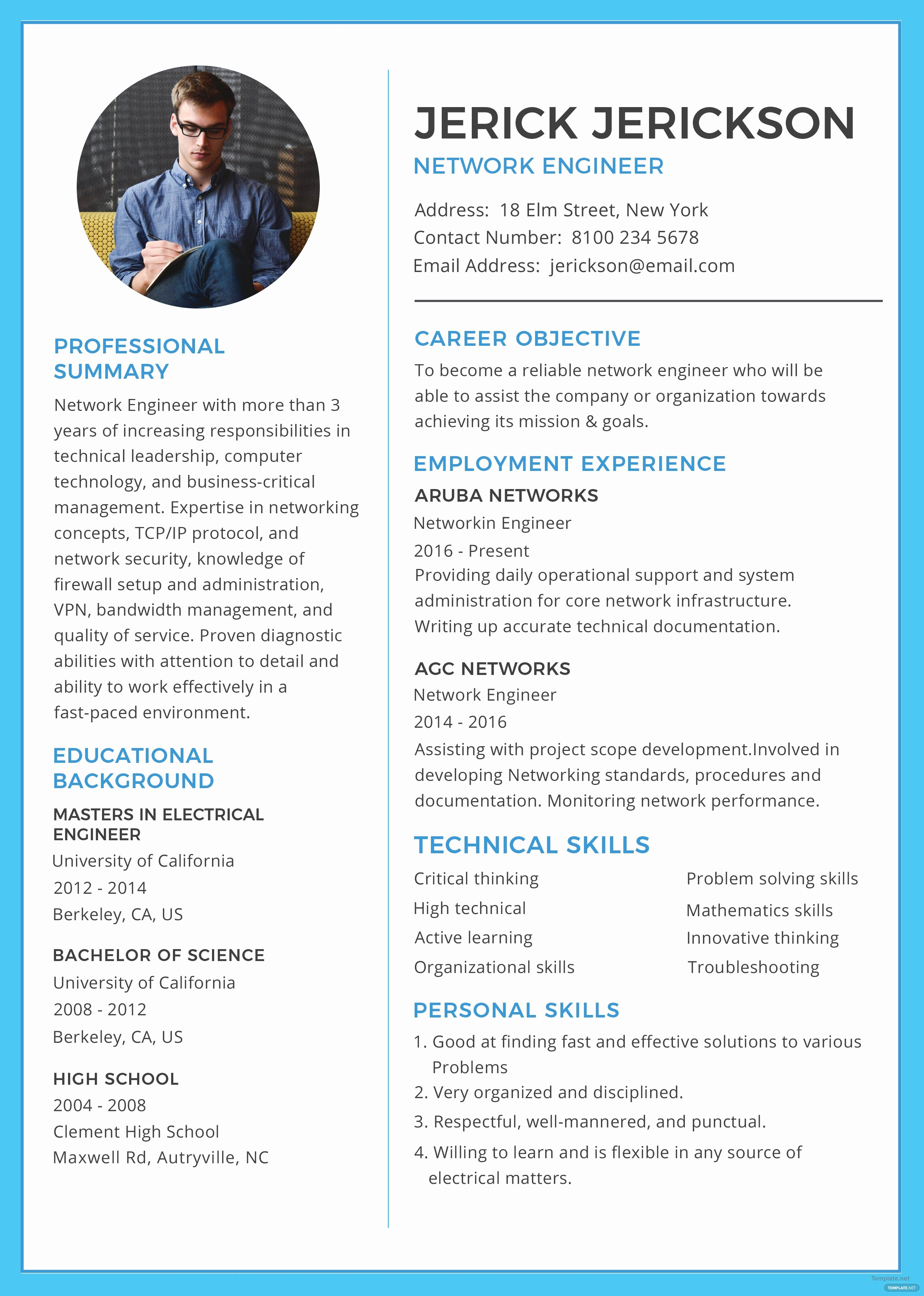 A Template for A Resume Awesome Free Basic Network Engineer Resume and Cv Template In