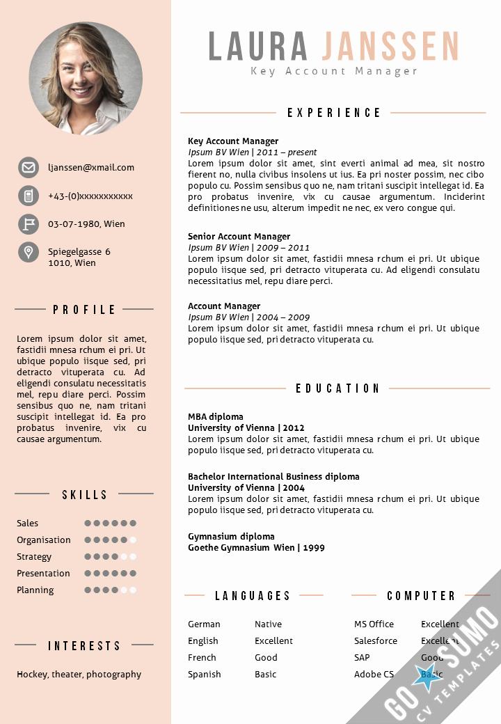 A Template for A Resume Beautiful Cv Template Vienna Cv Pinterest