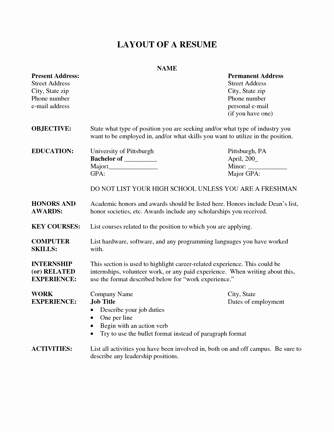 A Template for A Resume Beautiful Resume Layout Resume Cv Example Template