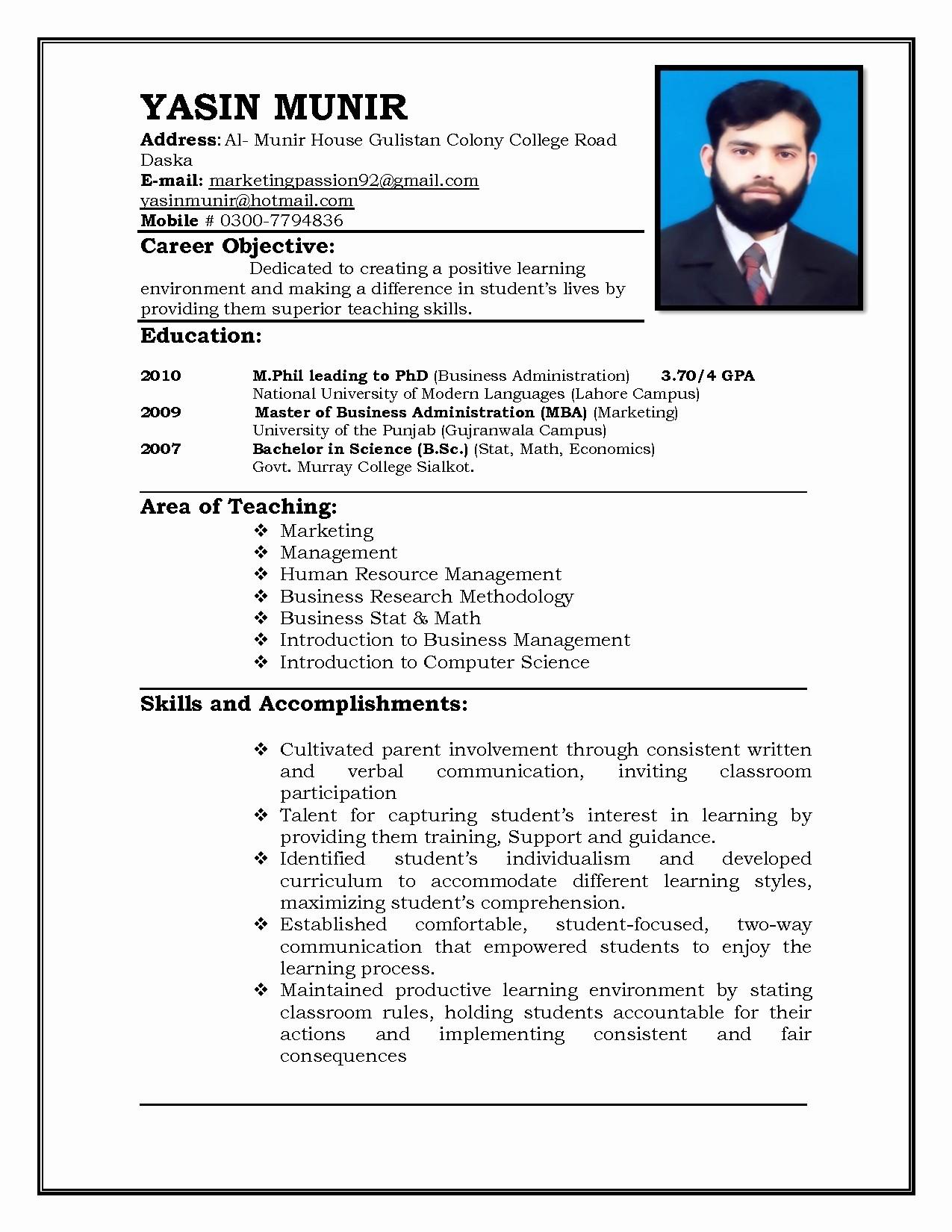 A Template for A Resume Fresh 19 Cv format for Teacher Job